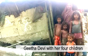 Geetha Devi with her four children